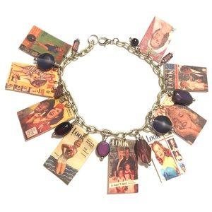 Vintage 50s magazine charm bracelet